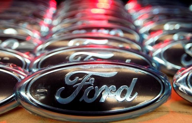 Ford logos are seen at the assembly line of the Ford car factory of Saarlouis, December 6, 2010.  REUTERS/Vincent Kessler/File Photo