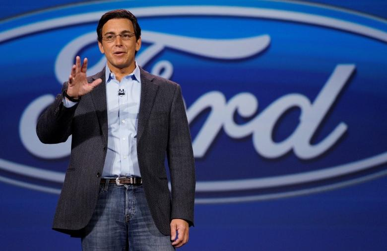 Ford CEO Mark Fields speaks at his company's keynote at the 2015 International Consumer Electronics show in Las Vegas.     REUTERS/Rick Wilking