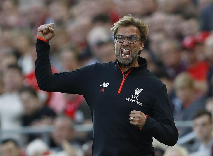 Britain Soccer Football - Liverpool v Leicester City - Premier League - Anfield - 10/9/16Liverpool manager Juergen Klopp celebrates their third goal Action Images via Reuters / Lee SmithLivepic