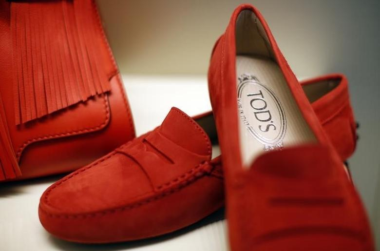 A pair of shoes of the Italian luxury shoemaker Tod's are displayed in Sant'Elpidio a Mare April 17, 2014. REUTERS/Max Rossi