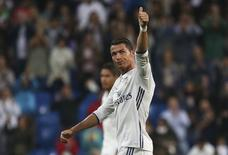Football Soccer - Real Madrid v Sporting Portugal - UEFA Champions League group stage - Santiago Bernabeu stadium, Madrid, Spain - 14/09/16 Real Madrid's Cristiano Ronaldo reacts at the end of the match.  REUTERS/Susana Vera -