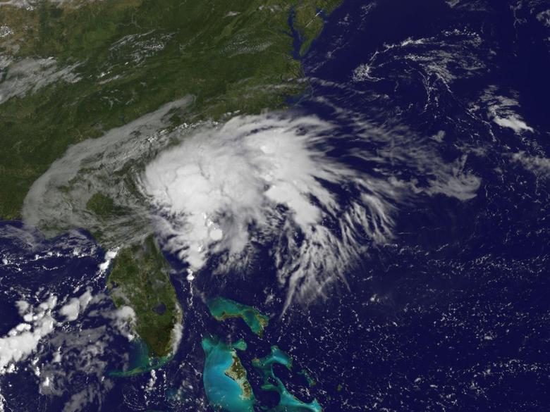 Tropical Storm Julia, centered 10 miles (16 kms) west of Brunswick, Georgia, is seen in an image from NOAA's GOES-East satellite captured at 8:37 a.m. EDT (1237 GMT) September 14, 2016.  NASA/NOAA GOES Project/Handout via Reuters