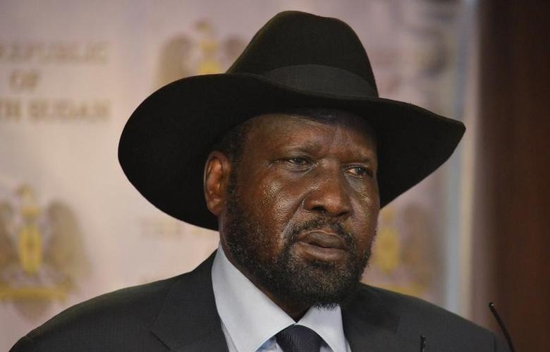 South Sudan President Salva Kiir address a news conference at the Presidential State House following renewed fighting in South Sudan's capital Juba, July 8, 2016. REUTERS/Stringer