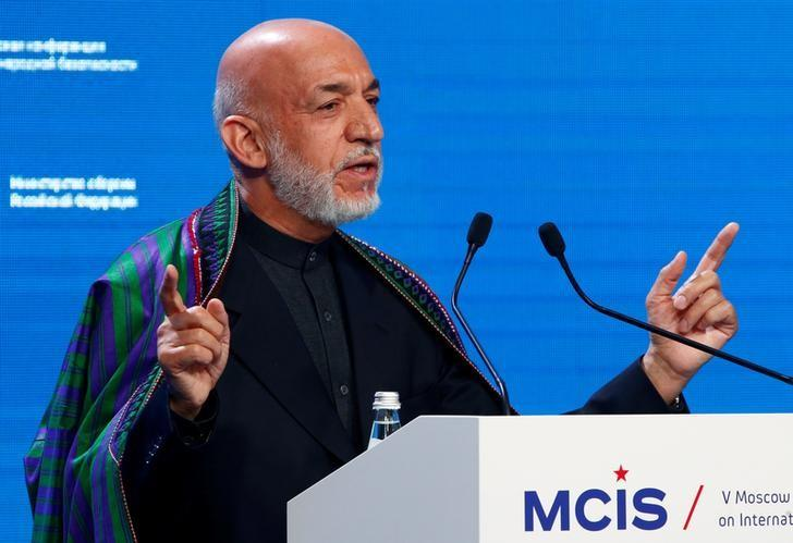 Former Afghan President Hamid Karzai delivers a speech as he attends the 5th Moscow Conference on International Security (MCIS) in Moscow, Russia, April 27, 2016. REUTERS/Sergei Karpukhin/Files