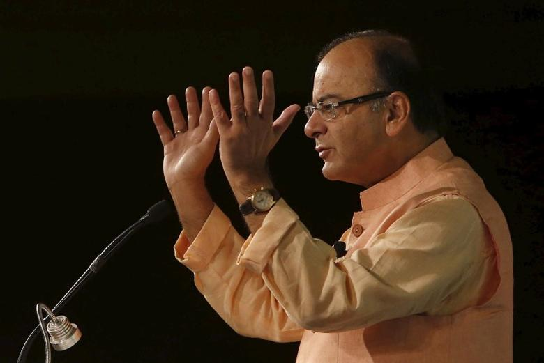 India's Finance Minister Arun Jaitley gestures while giving his closing remarks during the ''Advancing Asia: Investing for the Future'' conference in New Delhi, India, March 13, 2016. REUTERS/Anindito Mukherjee