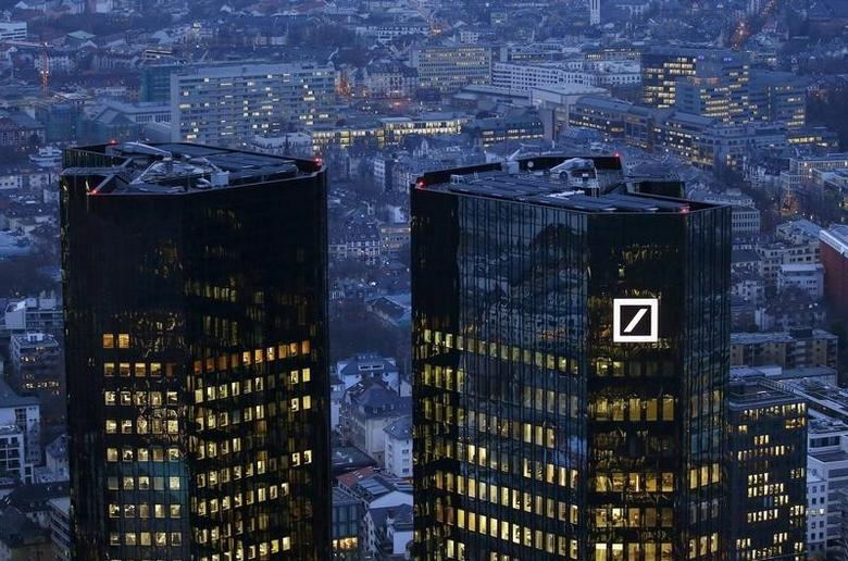 The headquarters of Germany's Deutsche Bank is photographed early evening in Frankfurt, Germany, January 26, 2016.   REUTERS/Kai Pfaffenbach/File Photo