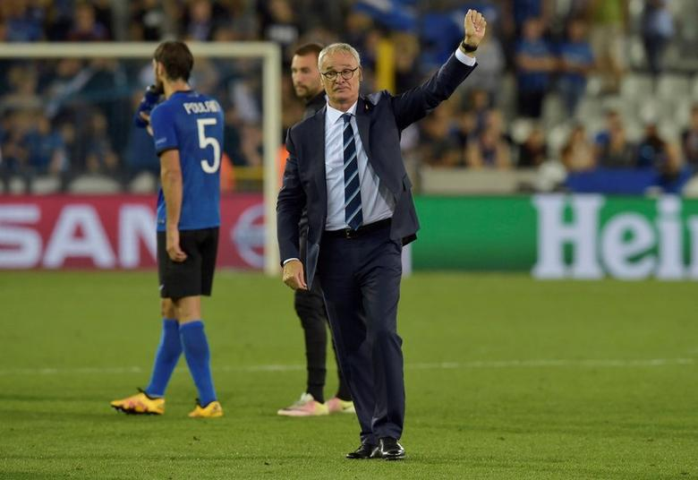 Soccer Football - Club Brugge v Leicester City - UEFA Champions League Group Stage - Group G - Jan Breydel Stadium, Brugge, Belgium - 14/9/16Leicester City manager Claudio Ranieri acknowledges the fans after the game Reuters / Eric VidalLivepic