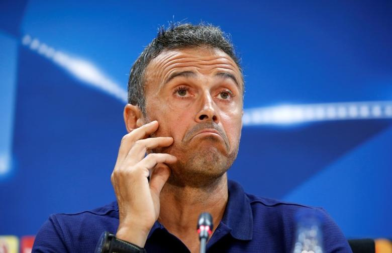 Football Soccer - Barcelona news conference - Champions League - Joan Gamper training camp - Barcelona, Spain - 12/09/16. Barcelona's coach Luis Enrique attends a news conference. REUTERS/Albert Gea