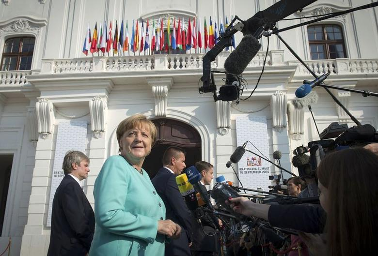 Germany's Chancellor Angela Merkel arrives for the European Union summit- the first one since Britain voted to quit- in Bratislava, Slovakia, September 16, 2016.  REUTERS/Guido Bergmann/BPA/Handout via Reuters