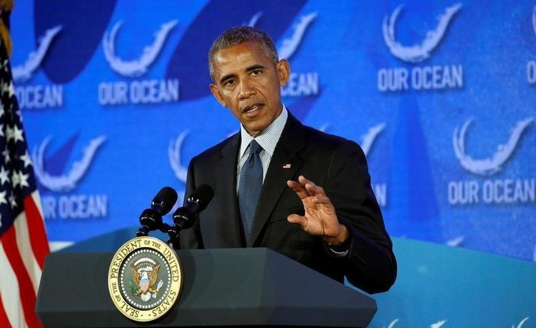U.S. President Barack Obama speaks at the Our Ocean Conference at the State Department in Washington, D.C., U.S., September 15, 2016. REUTERS/Kevin Lamarque