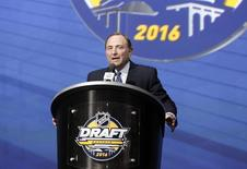 Jun 24, 2016; Buffalo, NY, USA; NHL commissioner Gary Bettman speaks before the first round of the 2016 NHL Draft at the First Niagra Center.  Timothy T. Ludwig-USA TODAY Sports