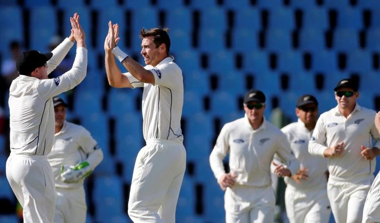 New Zealand's Tim Southee celebrates bowling out South Africa's JP Duminy. REUTERS/Siphiwe Sibeko