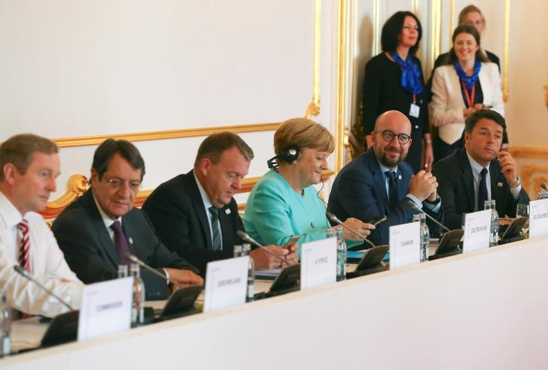 (L-R) Ireland's Prime Minister Enda Kenny, Cyprus' President Nicos Anastasiades , Denmark's Prime Minister Lars Lokke Rasmussen, Germany's Chancellor Angela Merkel, Belgian Prime Minister Charles Michel and Italy?s Prime Minister Matteo Renzi attend the European Union summit- the first one since Britain voted to quit- in Bratislava, Slovakia, September 16, 2016. REUTERS/Yves Herman