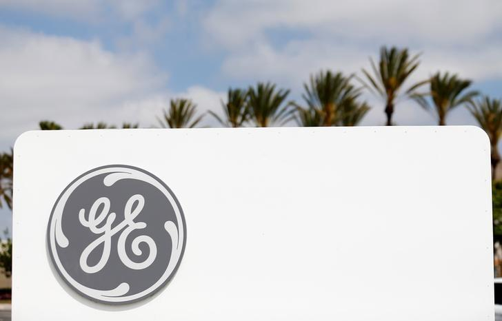 The logo of Down Jones Industrial Average stock market index listed company General Electric is shown at their subsidiary company GE Aviation in Santa Ana, California April 13, 2016.  REUTERS/Mike Blake