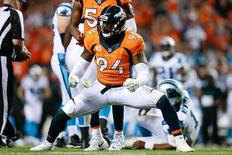 Sep 8, 2016; Denver, CO, USA; Denver Broncos outside linebacker DeMarcus Ware (94) reacts after sacking Carolina Panthers quarterback Cam Newton (1) in the third quarter at Sports Authority Field at Mile High. Mandatory Credit: Isaiah J. Downing-USA TODAY Sports
