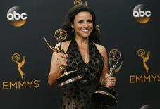 "Actress Julia Louis-Dreyfus poses backstage with her awards for Outstanding Comedy Series and Outstanding Lead Actress In A Comedy Series for her role in HBO's  ""Veep"" at the 68th Primetime Emmy Awards in Los Angeles, California U.S., September 18, 2016.  REUTERS/Mike Blake"