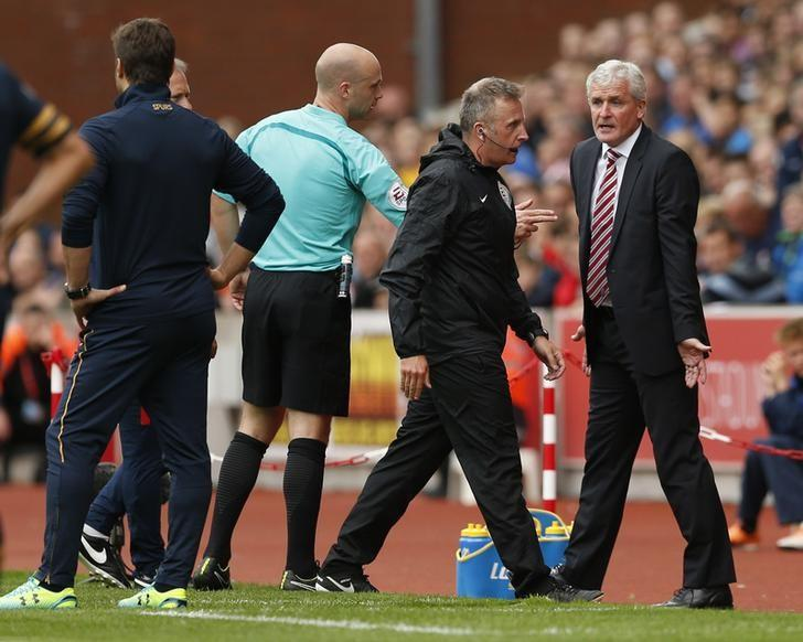 Britain Soccer Football - Stoke City v Tottenham Hotspur - Premier League - bet365 Stadium - 10/9/16Referee Anthony Taylor sends Stoke City manager Mark Hughes to the standsAction Images via Reuters / Andrew BoyersLivepic