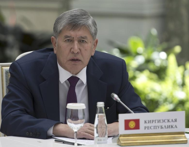 Kyrgyz President Almazbek Atambayev attends an informal Commonwealth of Independent States (CIS) leaders summit on the occasion of the 70th anniversary of the end of World War Two at the Kremlin in Moscow May 8, 2015. REUTERS/Host Photo Agency/RIA Novosti