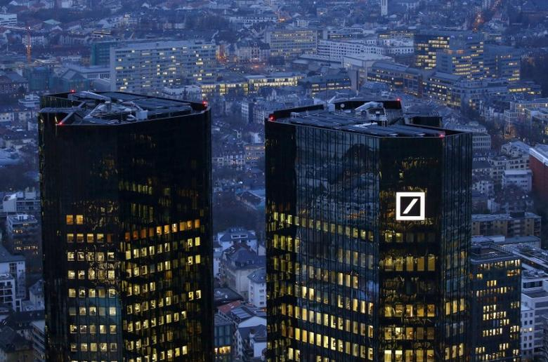 The headquarters of Germany's Deutsche Bank is photographed early evening in Frankfurt, Germany, January 26, 2016.   REUTERS/Kai Pfaffenbach/File Photo  - RTSO0J8