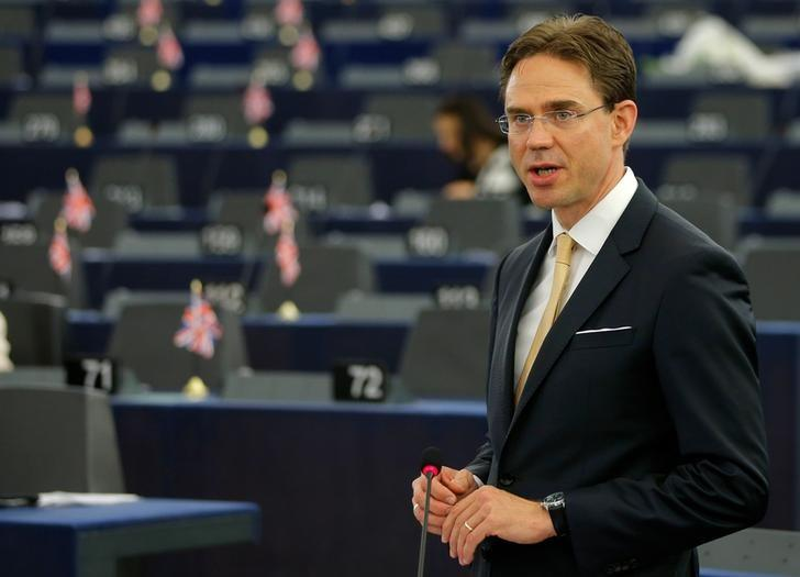 European Commission Vice President Jyrki Katainen delivers a speech during a debate at the European Parliament in Strasbourg, France, June 8, 2016. REUTERS/Vincent Kessler