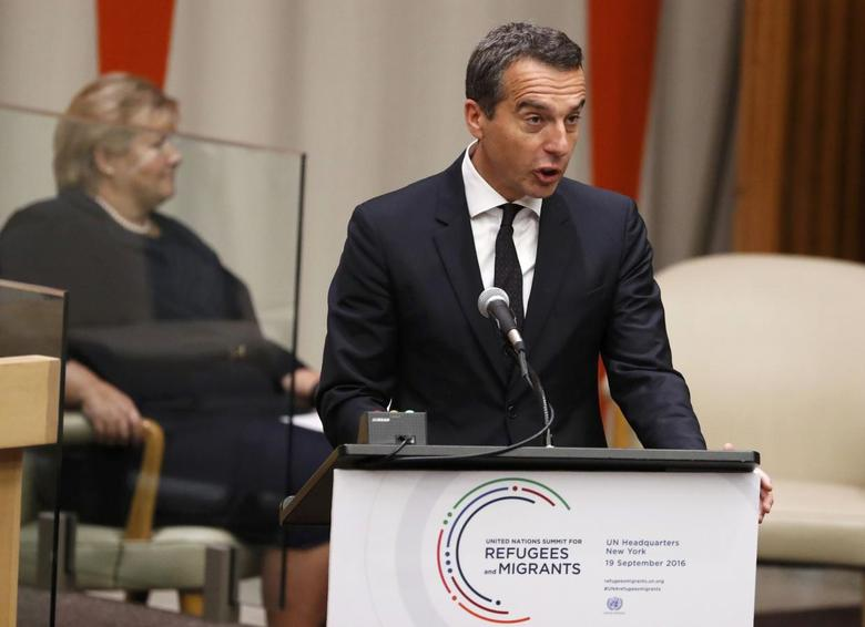 Chancellor Christian Kern of Austria speaks during a high-level meeting on addressing large movements of refugees and migrants at the United Nations General Assembly in Manhattan, New York, U.S., September 19, 2016. REUTERS/Lucas Jackson