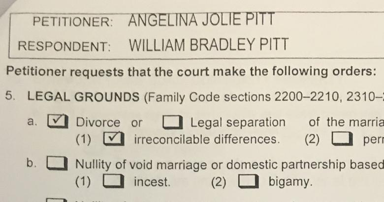 A copy of papers filed at Los Angeles Superior Court by Angelina Jolie shows her petition for divorce from her husband Brad Pitt in Los Angeles, California, U.S. September 20, 2016. Jolie filed in Los Angeles Superior Court on Monday, citing irreconcilable differences as grounds for the split, court documents showed. REUTERS/Piya Sinha Roy