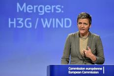 EU Competition Commissioner Margrethe Vestager gestures during a news conference on the approval of the Hutchison-Vimpelcom deal at the European Commission in Brussels, Belgium September 1, 2016. REUTERS/Eric Vidal/File Photo