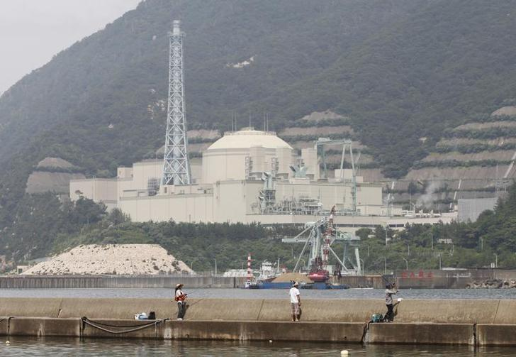 People on vacation fish as the Japan Atomic Energy Agency's Monju nuclear power plant, a sodium-cooled fast reactor, is pictured in the background in Tsuruga, Fukui prefecture, July 2, 2011. REUTERS/Issei Kato