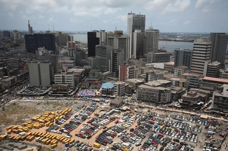 An aerial view shows the central business district in Nigeria's commercial capital of Lagos, April 7, 2009. REUTERS/Akintunde Akinleye/File Photo