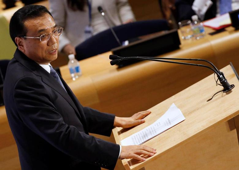 Chinese Premier Li Keqiang speaks during a High Level Leaders meeting on Refugees on the sidelines of the United Nations General Assembly at United Nations headquarters in New York, U.S. September 20, 2016.  REUTERS/Brendan McDermid