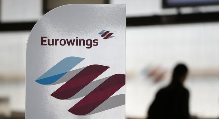 The logo of Lufthansa's low-cost brand Eurowings is pictured during the presentation of Eurowings' first long-haul flight to Havana, Cuba, at Cologne-Bonn airport, Germany, November 2, 2015. REUTERS/Wolfgang Rattay