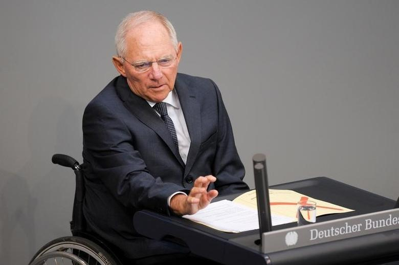 German Finance Minister Wolfgang Schaeuble speaks during a meeting at the lower house of parliament Bundestag on 2017 budget in Berlin, Germany, September 6, 2016. REUTERS/Stefanie Loos