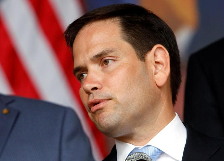 U.S. Senator Marco Rubio attends a news conference after a private meeting at the presidential palace in Tegucigalpa, Honduras, on June 1, 2016.  REUTERS/Jorge Cabrera/File Photo