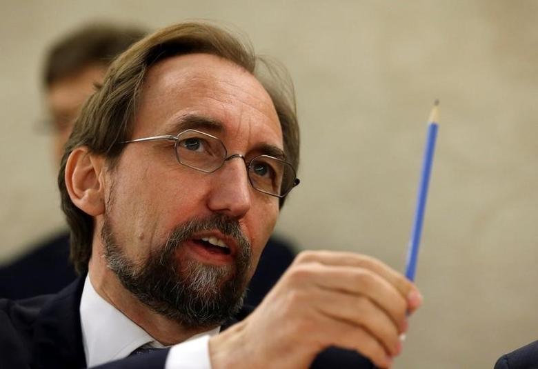 United Nations High Commissioner for Human Rights Zeid Ra'ad Al Hussein attends the 33rd session of the Human Rights Council at the U.N. European headquarters in Geneva, Switzerland, September 13, 2016. REUTERS/Denis Balibouse
