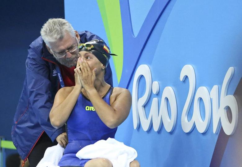 2016 Rio Paralympics - Swimming - Women's 50m Backstroke - S5 - Aquatic Stadium - Rio de Janeiro, Brazil - 16/09/2016. Teresa Perales of Spain reacts  REUTERS/Sergio Moraes