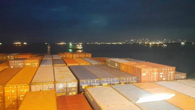 A view of the shoreline of Singapore onboard Hanjin Rome, which is stranded in Singapore's eastern coast, in this undated handout photo received on September 22, 2016. Moon Kwon-do/Handout via Reuters