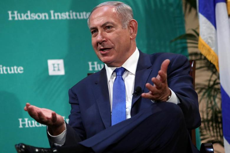 Israeli Prime Minister Benjamin Netanyahu delivers remarks at the Hudson Institute