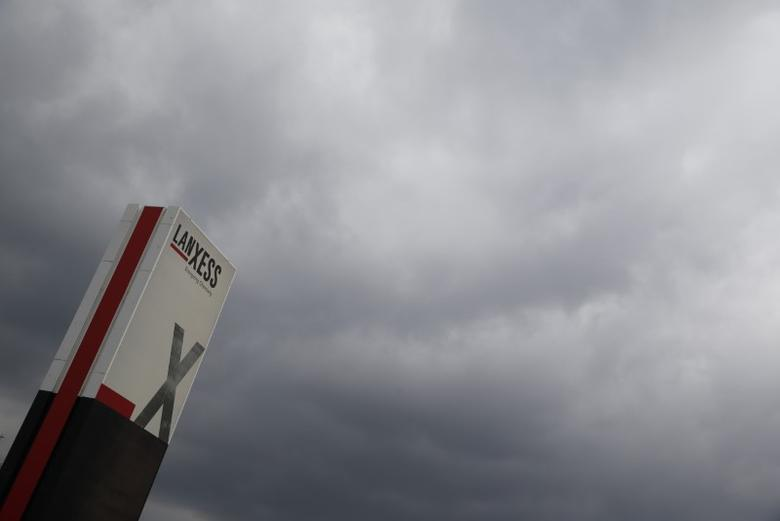 A logo of Lanxess is seen next to dark clouds at Cologne Bonn airport  March 27, 2015.    REUTERS/Wolfgang Rattay