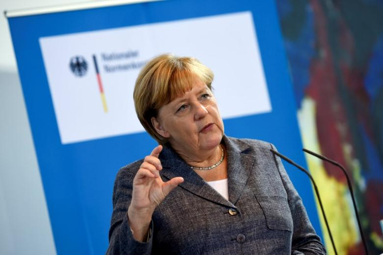 German Chancellor Angela Merkel speaks during a meeting with the National Regulatory Control Council at the Chancellery in Berlin, Germany September 21, 2016. REUTERS/Stefanie Loos