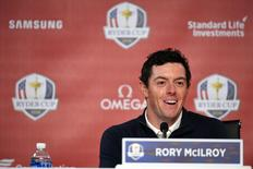 Sep 27, 2016; Chaska, MN, USA; Europe team player Rory McIlroy addresses the media at Hazeltine National Golf Club ahead of the 41st Ryder Cup. Mandatory Credit: John David Mercer-USA TODAY Sports