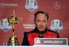 Sep 26, 2016; Chaska, MN, USA;  Team USA captain Davis Love III addresses the media during the captains press conference ahead of the 41st Ryder Cup at Hazeltine National Golf Club. Mandatory Credit: John David Mercer-USA TODAY Sports