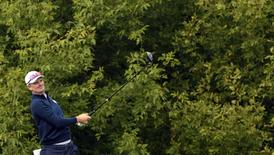 Sep 27, 2016; Chaska, MN, USA;  Justin Rose of England follows drives off the 10th tee during a practice for the 41st Ryder Cup at Hazeltine National Golf Club.  Mandatory Credit: Michael Madrid-USA TODAY Sports
