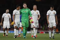 Britain Soccer Football - Arsenal v FC Basel - UEFA Champions League Group Stage - Group A - Emirates Stadium, London, England - 28/9/16 FC Basel's Tomas Vaclik and Mohamed Elyounoussi look dejected after the match Reuters / Stefan Wermuth Livepic