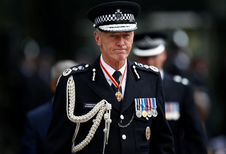 London's Metropolitan Police Commissioner, Bernard Hogan-Howe arrives at a passing-out parade at the new ''Peel Centre'' at the Metropolitan Police Academy in London, Britain September 9, 2016.  REUTERS/Peter Nicholls