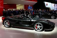 The new Ferrari LaFerrari Aperta is displayed on media day at the Paris auto show in Paris, France, September 29, 2016. REUTERS/Benoit Tessier