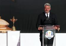 Sep 29, 2016; Chaska, MN, USA; Team Europe captain Darren Clarke speaks during the Opening Ceremony for the 41st Ryder Cup at Hazeltine National Golf Club. Mandatory Credit: Rob Schumacher-USA TODAY Sports