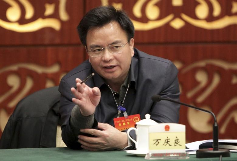 Wan Qingliang, Communist Party Secretary of Guangzhou, gestures as he speaks at a meeting in Guangzhou, February 18, 2014. REUTERS/Stringer