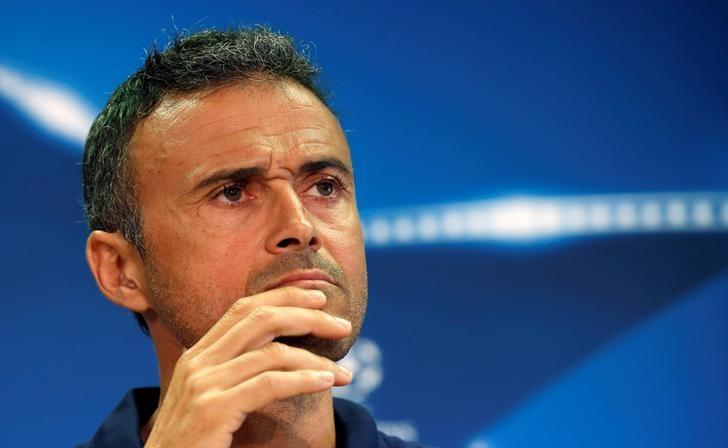 Football Soccer - Barcelona news conference - Champions League - Joan Gamper training camp - Barcelona, Spain - 12/09/16. Barcelona's coach Luis Enrique attends a news conference. REUTERS/Albert Gea/files
