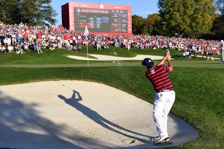 Oct 1, 2016; Chaska, MN, USA;  Phil Mickelson of the United States plays a shot from a bunker on the 16th hole during the afternoon four-ball matches in the 41st Ryder Cup at Hazeltine National Golf Club. Michael Madrid-USA TODAY Sports
