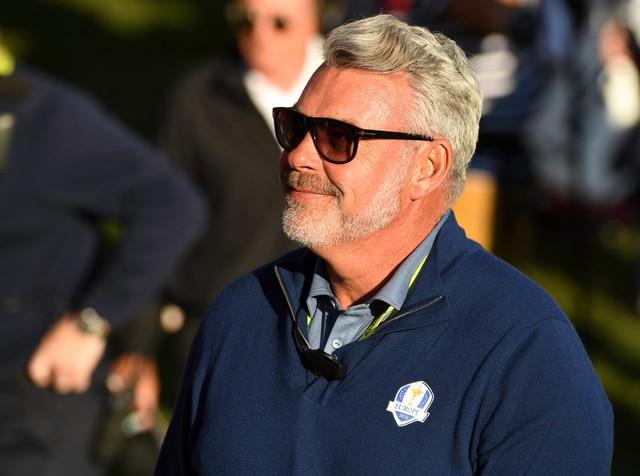 Sep 30, 2016; Chaska, MN, USA; Team Europe captain Darren Clarke on the 16th green in the afternoon four-ball matches during the 41st Ryder Cup at Hazeltine National Golf Club. John David Mercer-USA TODAY Sports